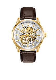 Bulova Men's Gold Tone Stainless Steel Sutton Automatic Leather Strap Watch