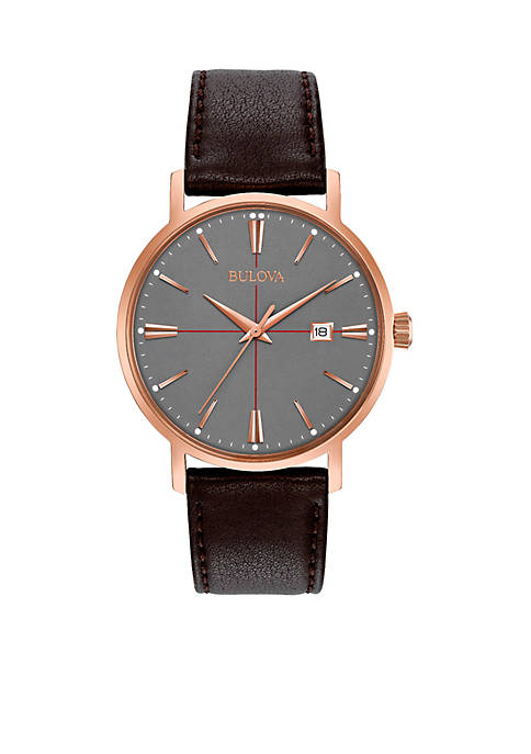 Bulova Mens Classic Brown Leather Watch