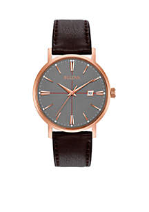 Men's Classic Brown Leather Watch