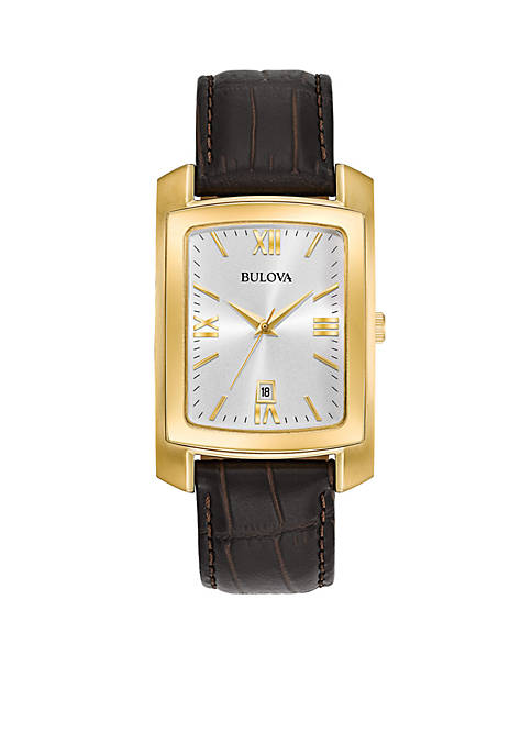 Bulova Mens Gold-Tone Classic Collection Brown Strap Watch