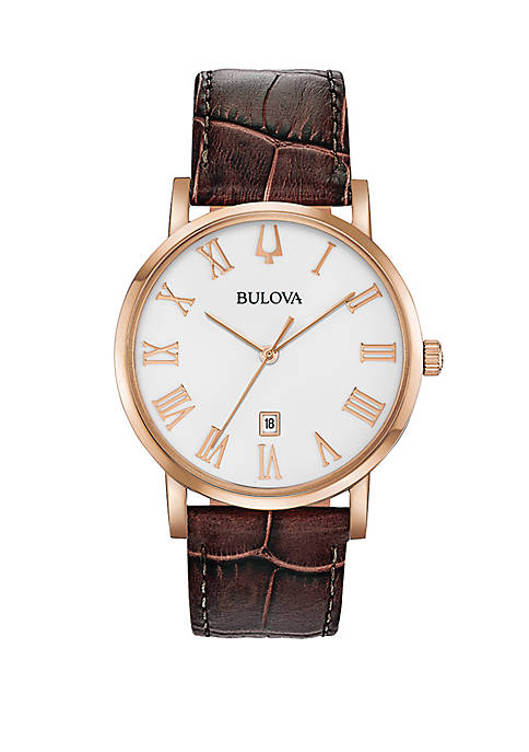 Bulova Rose Gold Tone Stainless Steel American Clipper
