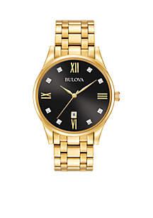 Men's Gold-Tone Diamond Watch