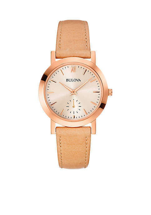 Womens Rose Gold-Tone Leather Watch