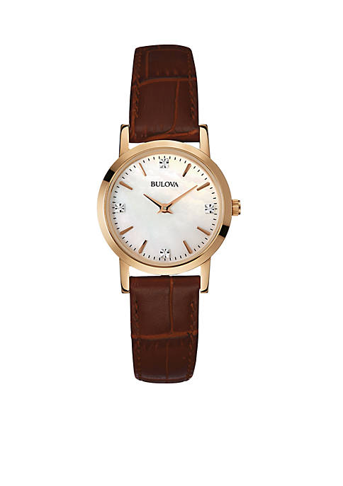 Bulova Womens Diamond Dial Brown Leather Watch