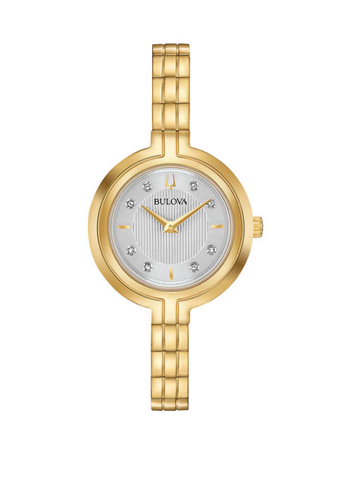 Bulova Womens Rhapsody Diamond Accent Gold Tone Stainless