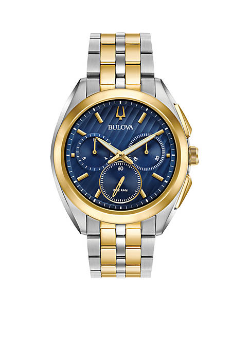 Bulova Mens Two-Tone Curv Chronograph Watch