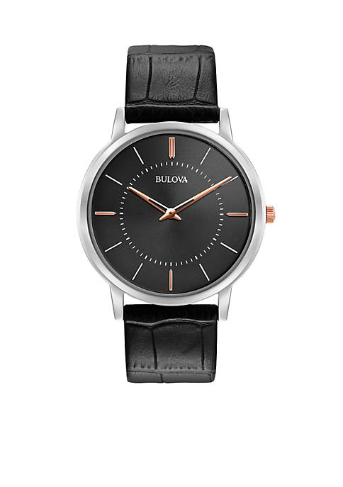 Bulova Mens Classic Black Leather Watch