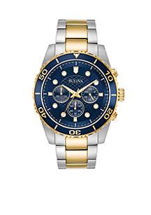 Men's Two-Tone Chronograph Marine Star Bracelet Watch