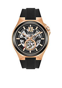 Men's Rose Gold-Tone Black Automatic Watch