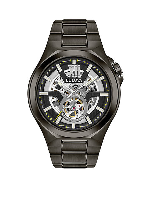 Bulova Mens Gunmetal IP Stainless Steel Automatic Collection