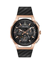 Men's Rose Gold-Tone Curv Chronograph Watch