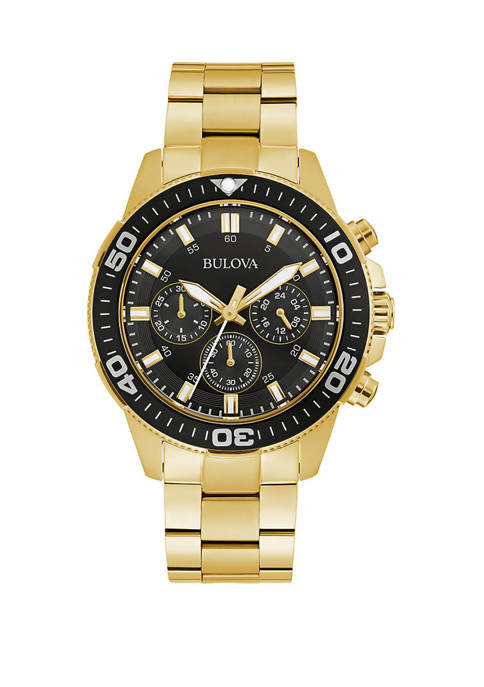 Mens Chrono Gold Tone Stainless Steel Black Dial Watch