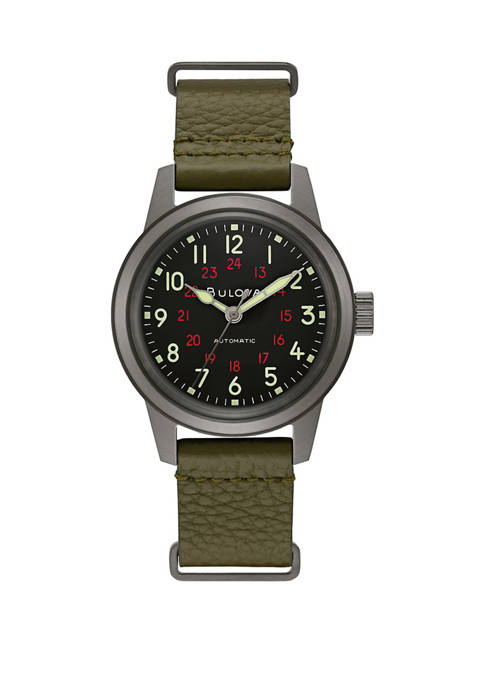 Bulova Mens Military Hack Watch with Black Dial