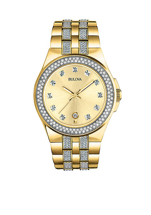 Bulova Mens Stainless Steel Crystal Collection Watch