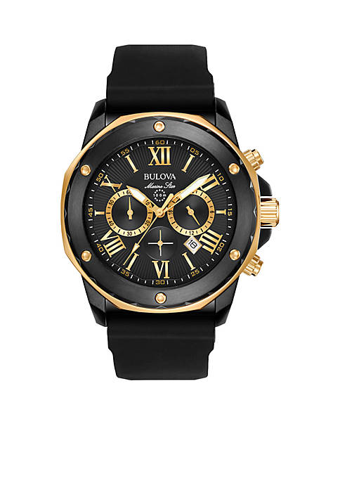 Bulova Mens Marine Star Black Dial Chronograph Watch