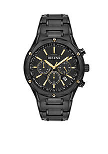 Men's Black IP Chronograph Bracelet Watch