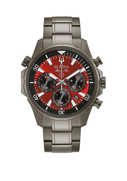 Bulova Mens Marine Star Gunmetal and Red Chronograph