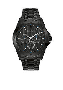 Men's Black Dial Stainless Steel Watch