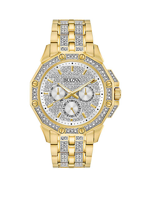 Bulova Mens Gold-Tone Stainless Steel Crystals Collection