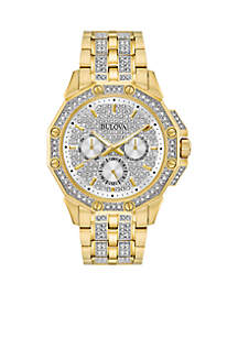 Bulova Men's Gold-Tone Stainless Steel Crystals Collection Bracelet Watch