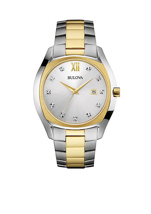 Bulova Mens Two Tone Stainless Steel Diamond Watch