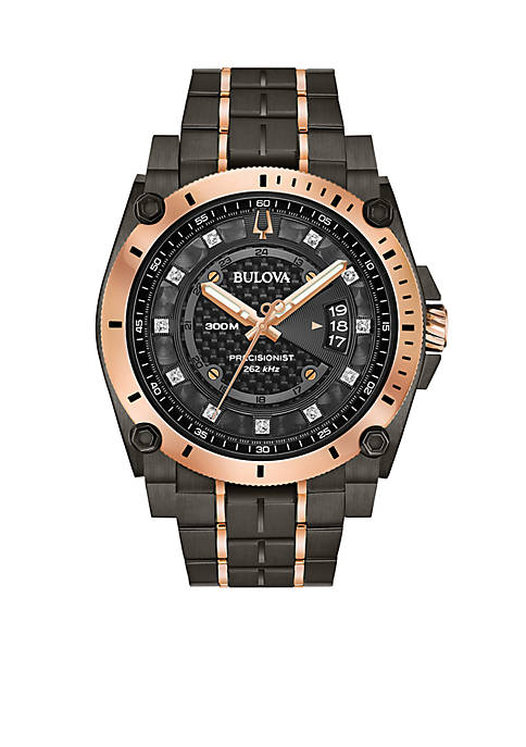 Bulova Mens Gray and Rose Gold-Tone Stainless Steel