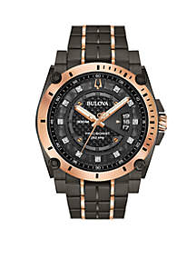 Bulova Men's Gray and Rose Gold-Tone Stainless Steel Precisionist Champlain Diamond-Accent Bracelet Watch 46.5mm