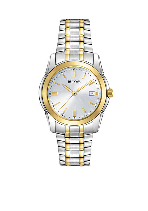 Bulova Mens Two Tone Stainless Steel Round Dial