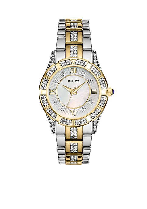 Bulova Ladies Two Tone Crystal Watch