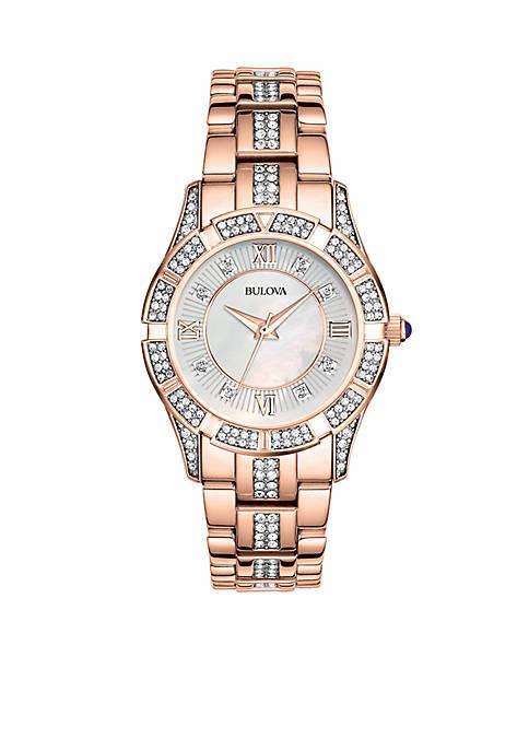 Bulova Womens Rose Gold Crystal Watch