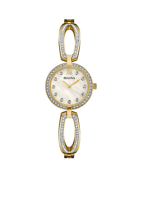 Bulova Womens Two-Tone Rhinestone Bangle Watch