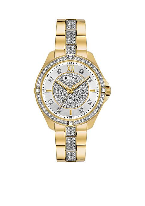 Bulova Womens Crystal Gold-Tone Watch