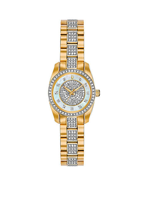 Bulova Ladies Gold-Tone Stainless Steel Embellished Watch