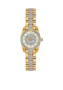 Ladies Gold-Tone Stainless Steel Embellished Watch