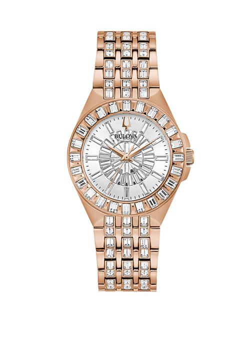 Bulova Womens Phantom Baguette Rose Gold Watch