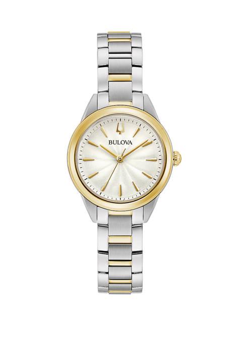 Bulova Womens Sutton Mini Two Tone Watch
