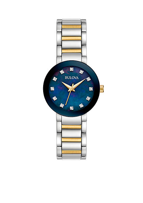 Bulova Womens Two-Tone Diamond Accent Watch
