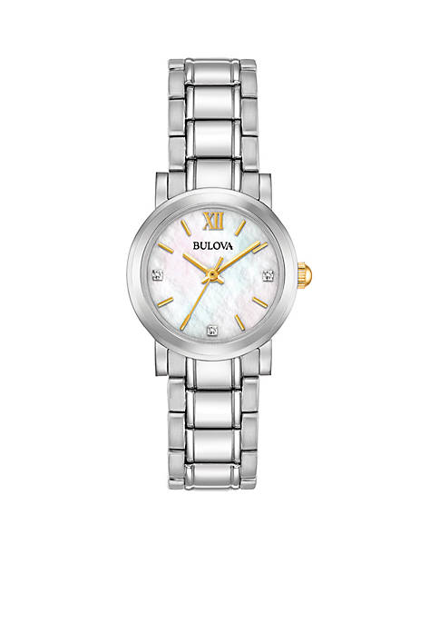 Bulova Womens Stainless Steel Diamond Dial Watch