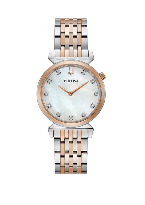 Womens Regatta Diamond Accent 2 Tone Stainless Steel Bracelet Watch