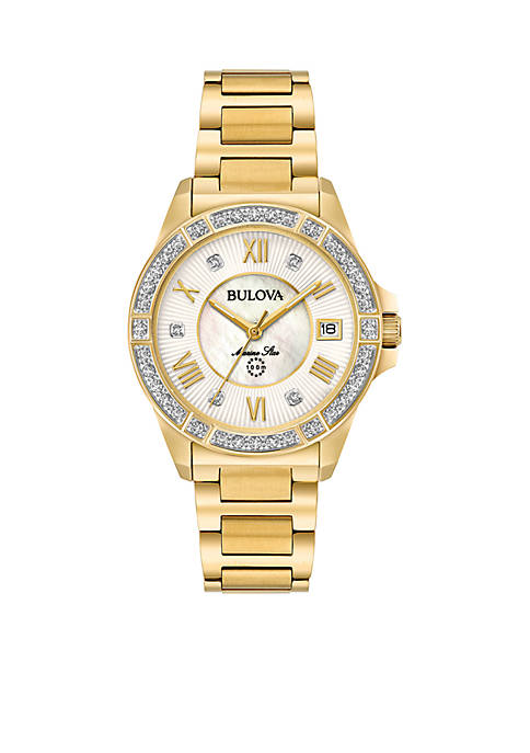 Bulova Womens Gold-Tone Marine Star Diamond Bracelet Watch