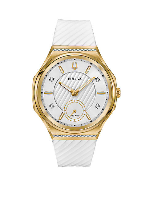 Bulova Womens Gold-Tone Curv Watch