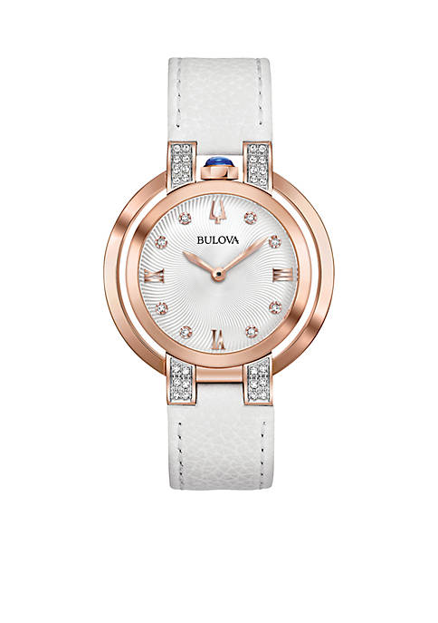 Bulova Womens Rose Gold-Tone Rubaiyat Watch