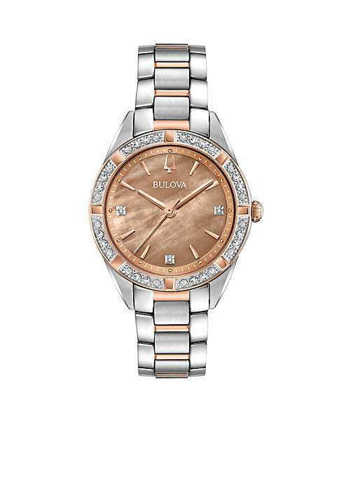 Bulova Womens Two-Tone Stainless Steel Sutton 1/10 ct.