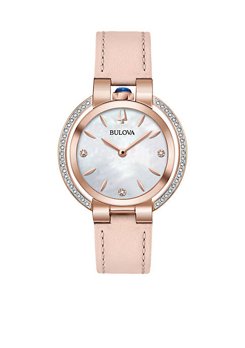 Bulova Womens Rose Gold-Tone Stainless Steel Rubayiat Diamond