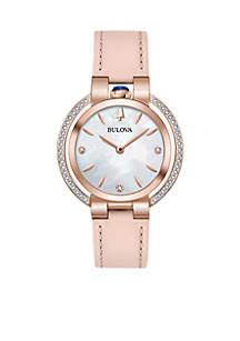 Women's Rose Gold-Tone Stainless Steel Rubaiyat Diamond (1/5 ct. t.w.) Pink Leather Strap Watch 35mm