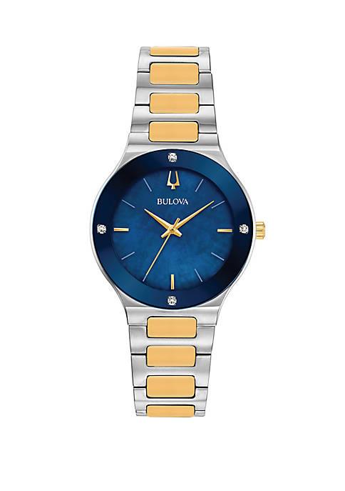 Bulova 2 Tone Stainless Steel Millenia Bracelet Watch