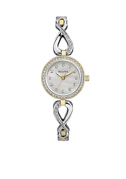 Bulova Womens Crystal Infinity Necklace and Watch Set