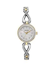 Women's Crystal Infinity Necklace and Watch Set