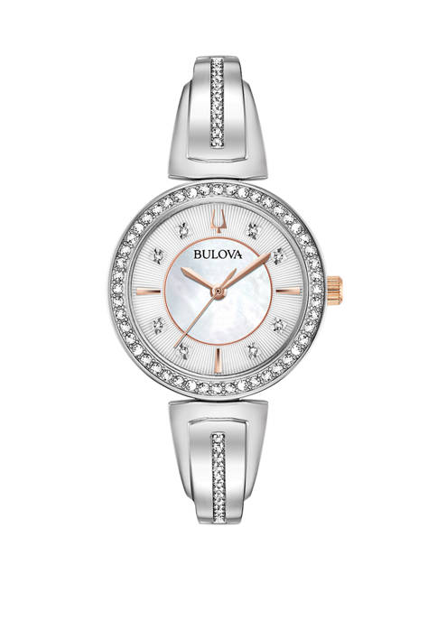 Bulova Womens Bangle Silver Watch and Necklace Set