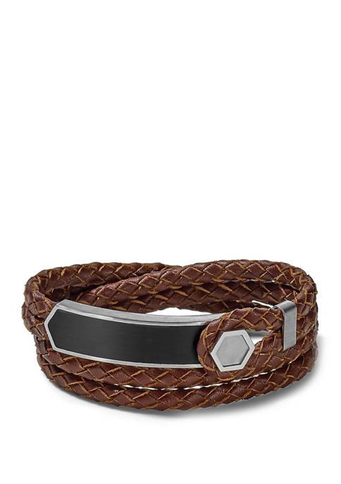Bulova Stainless Steel Epoxy Leather Bracelet